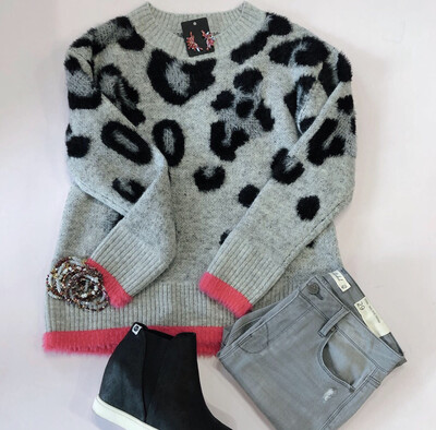 Pink Trim Leopard Sweater