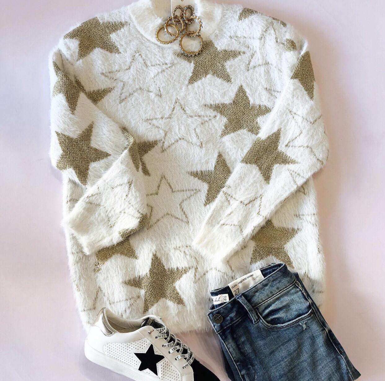Metallic Star Sweater