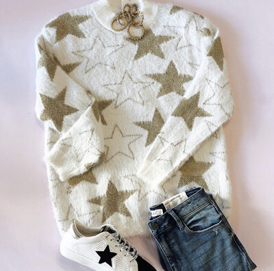 Metallic Star Sweater