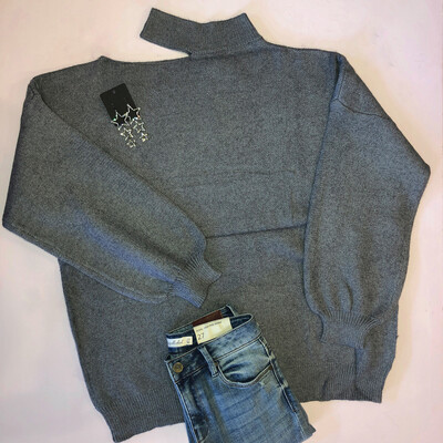 Cutout Grey Sweater