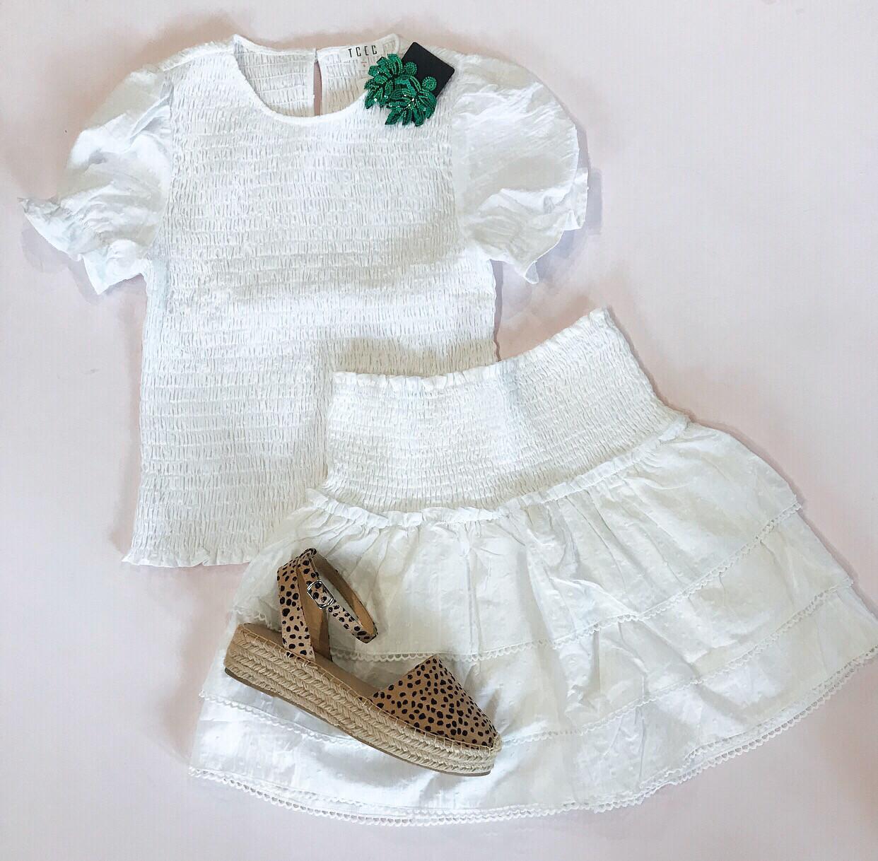 White Pleated Skirt Set