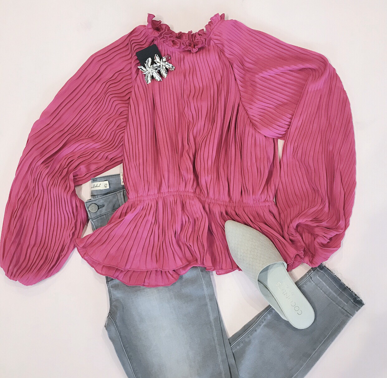 Magenta Pleated Blouse