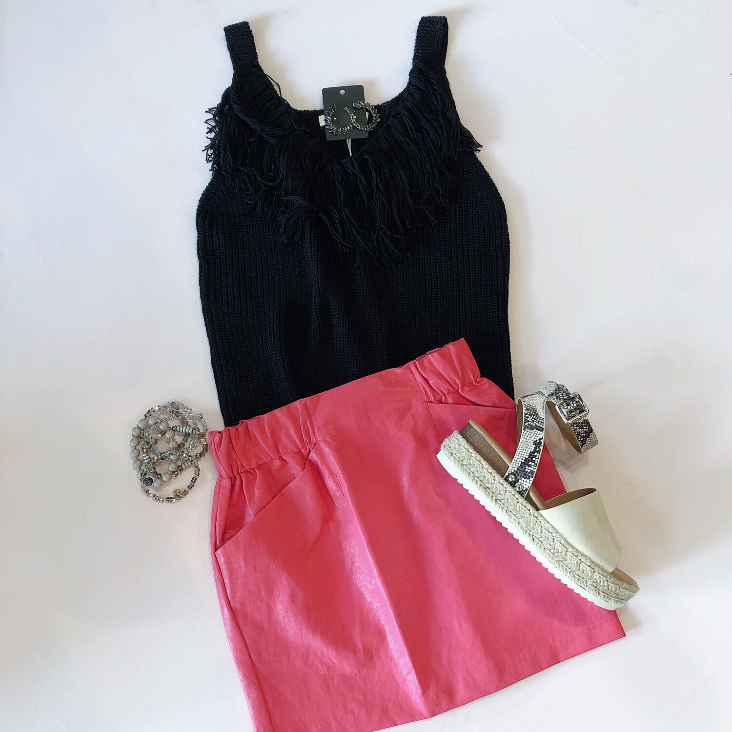 Hot Pink Faux Leather Skirt