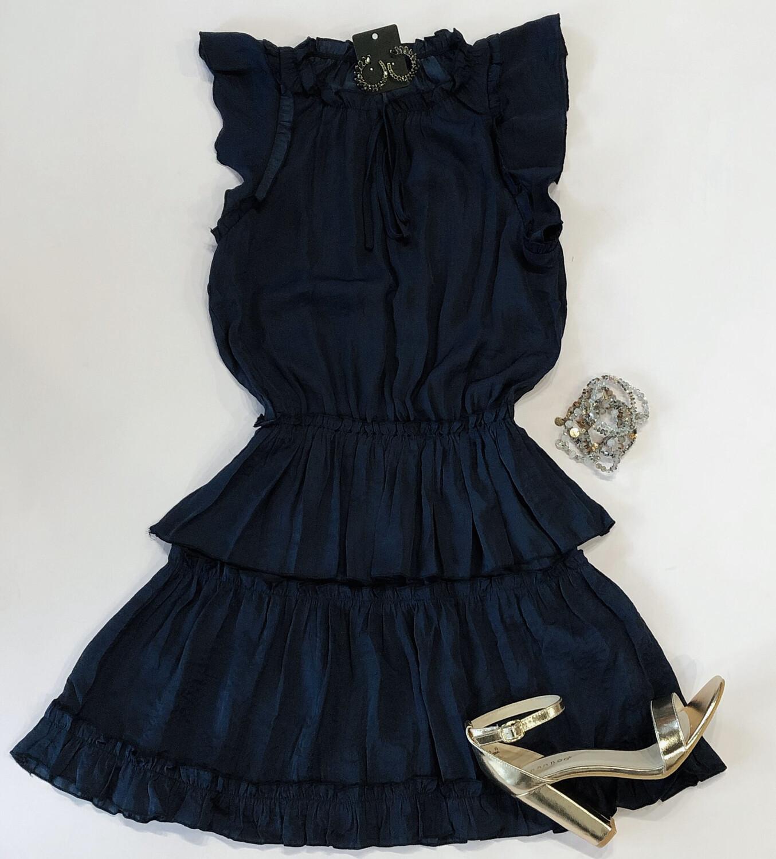 Navy Peasant Dress