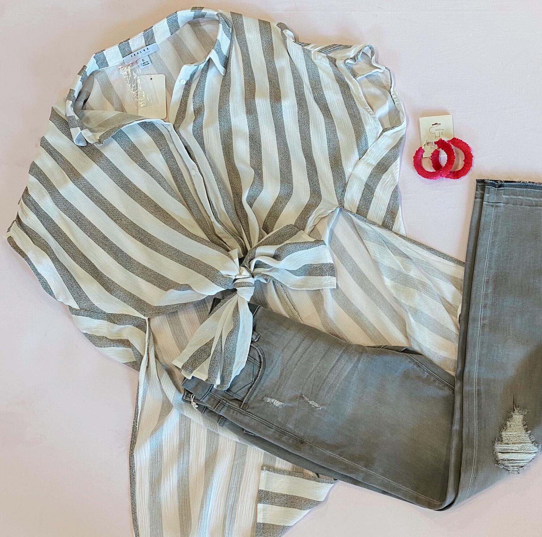 Gray Stripe Buttondown