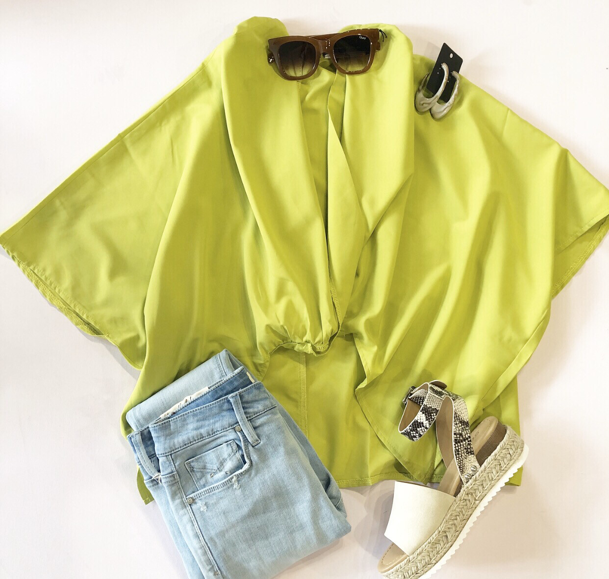 Chartreuse High Low Blouse
