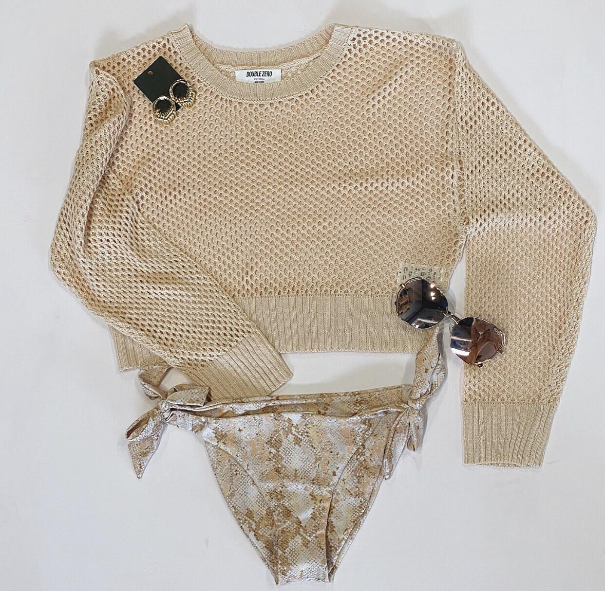 Blush Fishnet Sweater