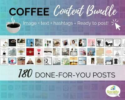 COFFEE Social Media Content Bundle - 180 coffee niche posts, ready-to-brand social media content for coffee shops and coffee niche business