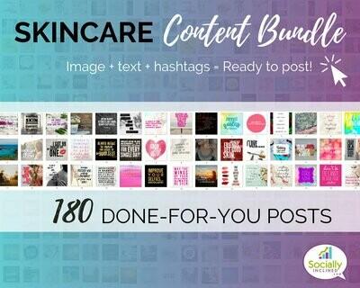 Skincare Social Media Content Bundle - 180 handmade skincare niche posts, ready-to-brand social media content for make up or skincare niche