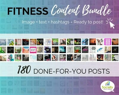 Fitness Social Media Content Bundle - 180 handmade Fitness posts, ready to brand challenge group content for health and fitness coaches