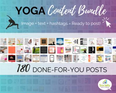 YOGA Social Media Content Bundle - 180 niche posts, ready-to-brand social media content perfect for your YOGA business or Studio