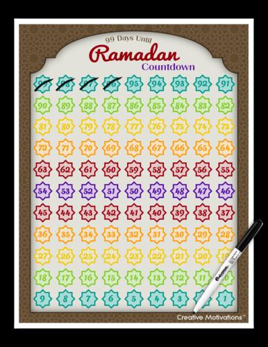 99 Days til Ramadan Countdown Calendar