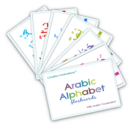 Arabic Alphabet Flashcards with Guide Book