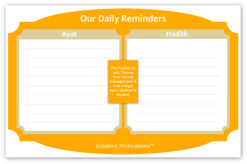 Daily Islamic Reminder Chart