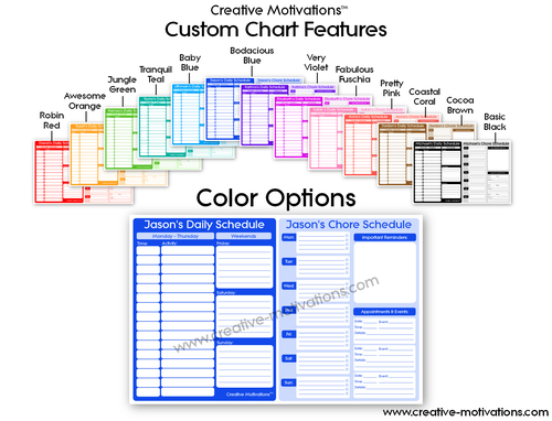 All-in-One Weekly Schedule, Chore Chart & Calendar for KIDS (Customized)