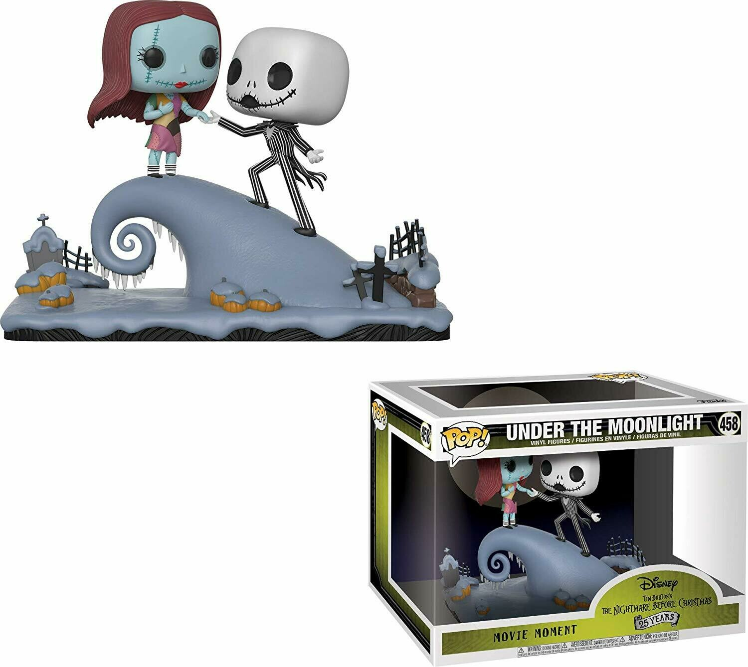 Funko Pop Movie Moment: Nightmare Before Christmas - Jack and Sally On The Hill Collectible Figure, Multicolor