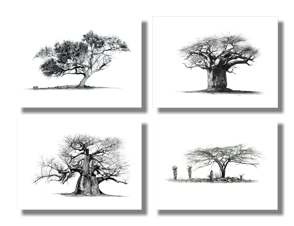 """Trees"" set of 4 A5 prints on paper"