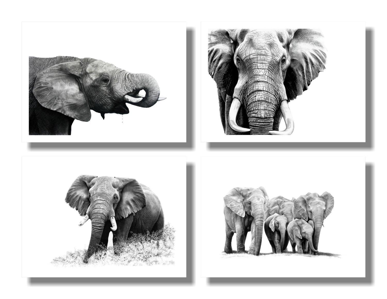 """Elephants"" set of 4 A5 prints on paper"