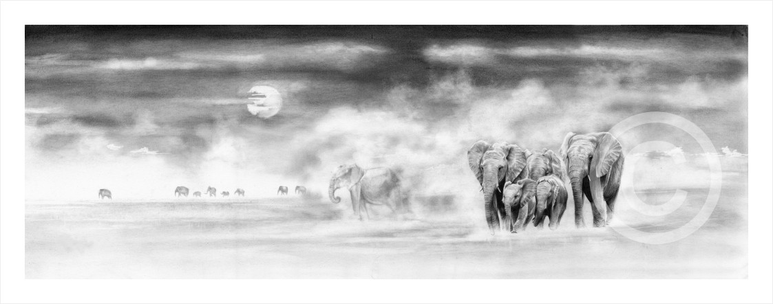 """""""Rush Hour"""" 594mm x 203mm large print on paper"""