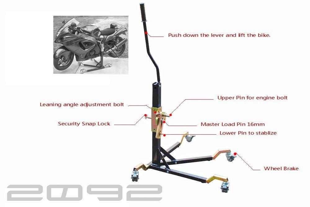 Black Custom Paddock Style Side Lift Stand 2009 - 2016 GSXR 1000