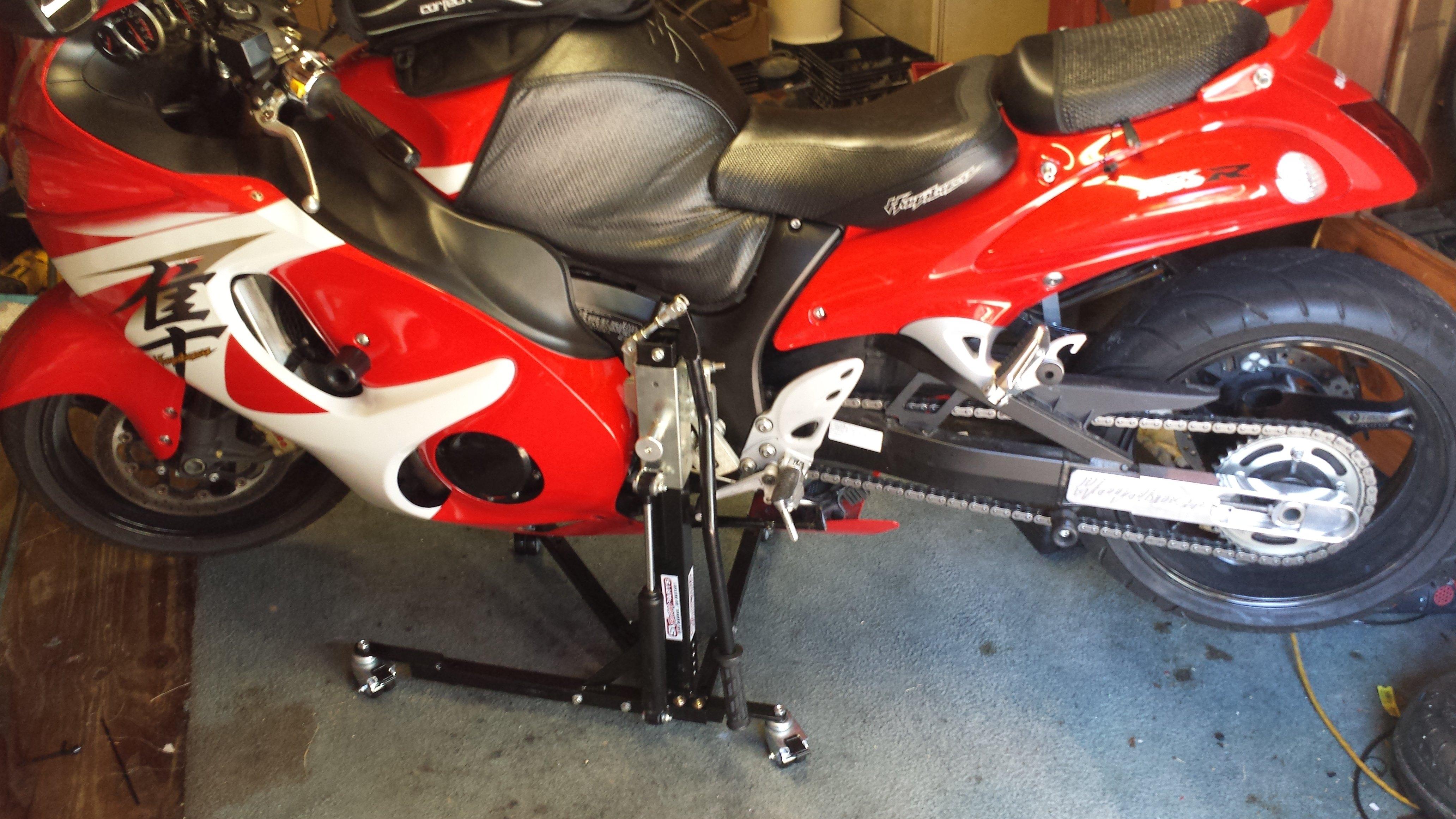 Black Custom Suzuki Sport Bike Paddock Style Side Lift Stands