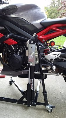 Black Custom Paddock Style Side Lift Stands Triumph '06 - 2017 675 Street Triple Models