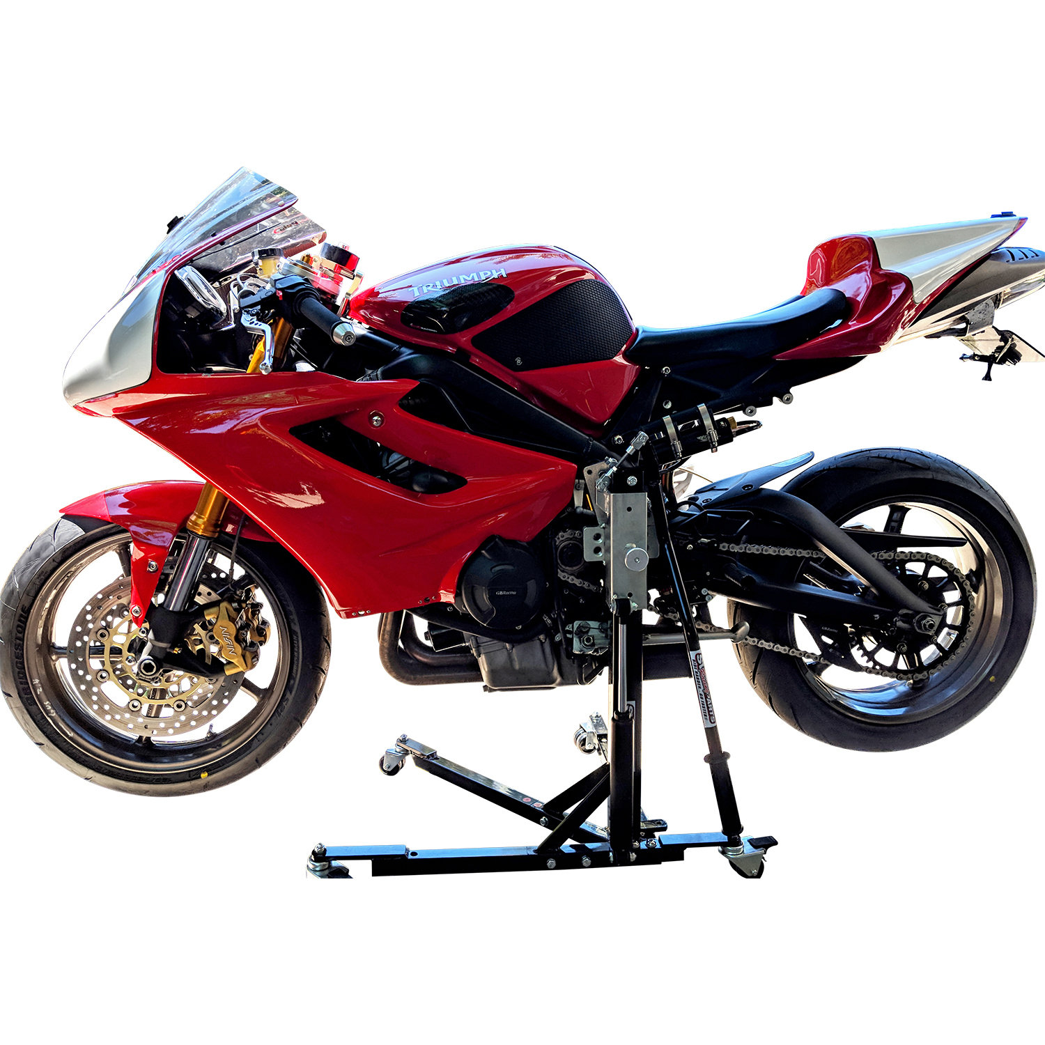 Black Custom Paddock Style Side Lift Stands : 2018 Up Triumph 765 Street Triple Models 00537