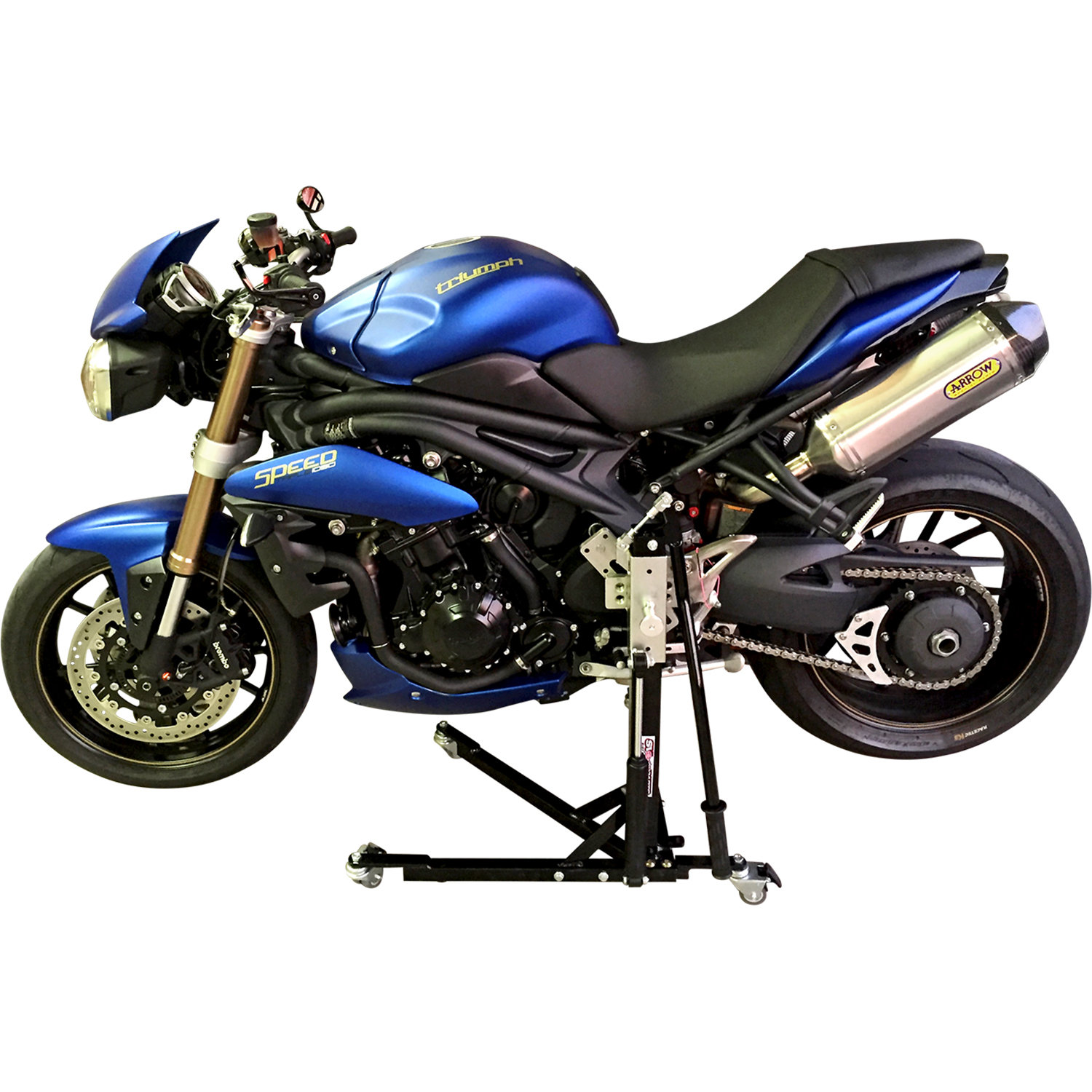 Black Custom Paddock Style Side Lift Stands 2005 - 2010 Gen 1 Triumph Speed Triple