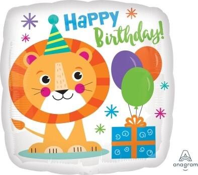 Foil Balloon Happy Birthday Little Lion