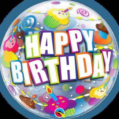 Bubble balloon Happy Birthday Cupcakes