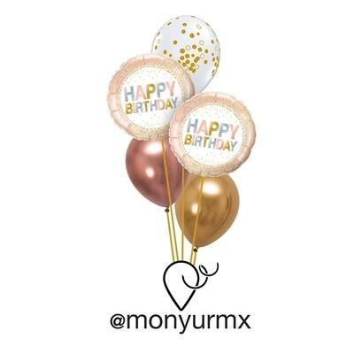 Rose Gold Birthday Balloon Bouquet