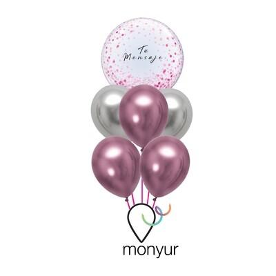 "Customized Bubble Balloon ""Pink Confetti Bouquet"""