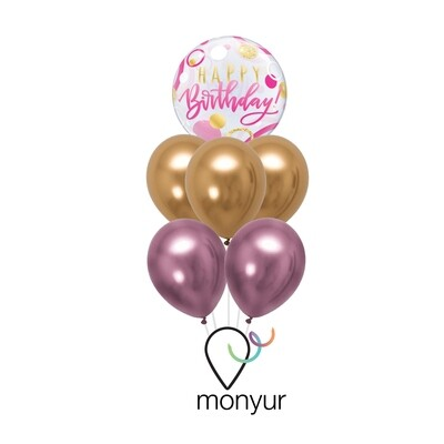 Pink and Gold Happy Birthday Balloon Bouquet