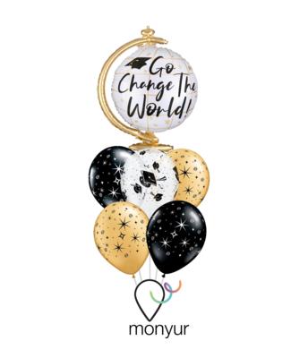 Graduation Go Change the World Balloon Bouquet
