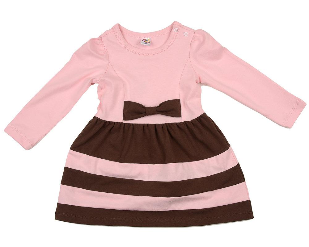 UD 0746(3)роз/кофе  Mini-maxi Платье с дл.рукавом (98-116см) UD 0746(3)роз/кофе