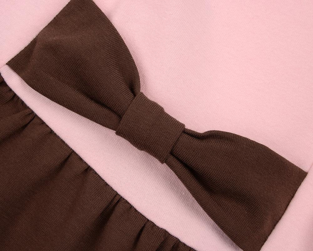 UD 0746(3)роз/кофе  Mini-maxi Платье с дл.рукавом (98-116см)