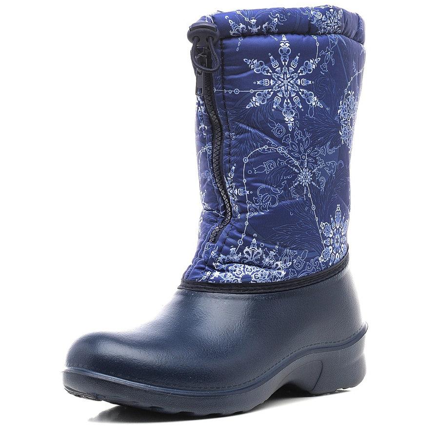 321/01-10 Сапоги Дюна Сноубутсы снежинки-листья/т.синий, размеры 37-41 321/01-10