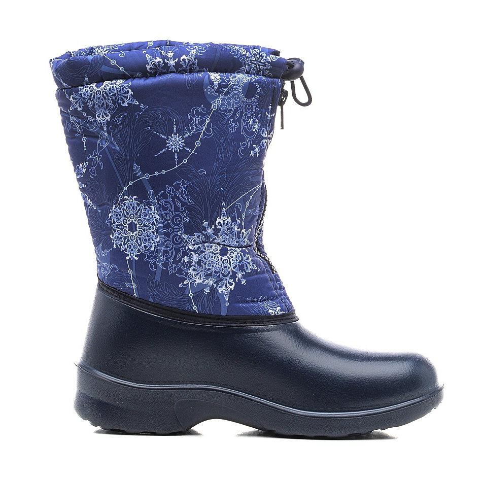 321/01-10 Сапоги Дюна Сноубутсы снежинки-листья/т.синий, размеры 37-41