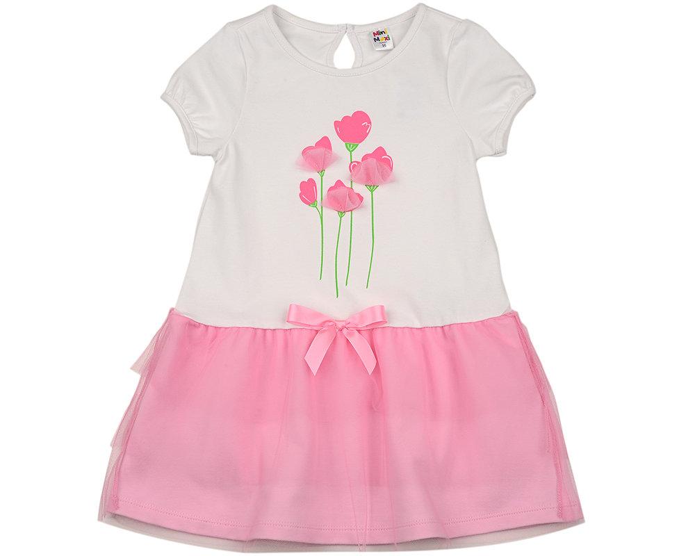 UD 3960(1)бел/розов  Mini Maxi Платье (98-122см) UD 3960(1)бел/розов