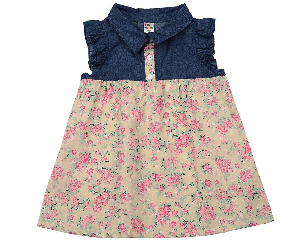 UD 2003(3)беж.цветы  Mini Maxi Платье с пуговками (92-116см) UD 2003(3)беж.цветы