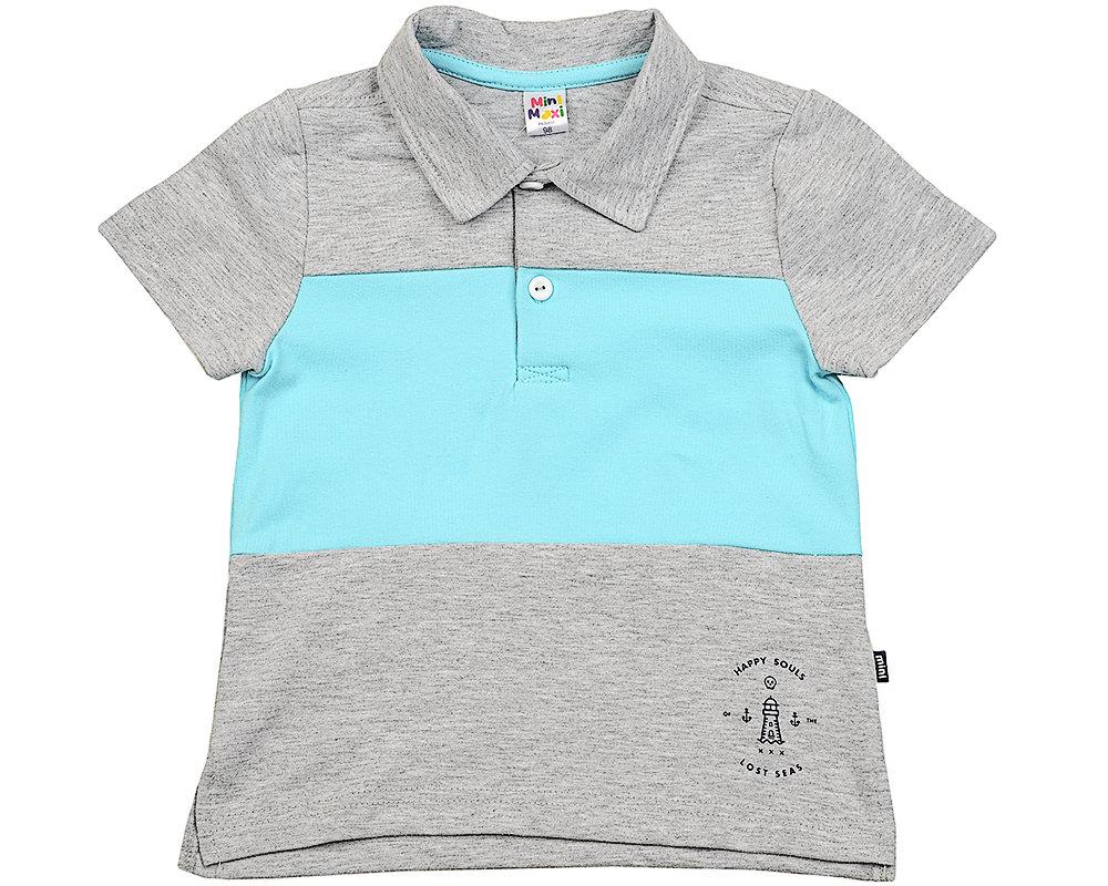 UD 1753 сер/бирюз  Mini Maxi Рубашка-поло (98-122см) UD 1753 сер/бирюз