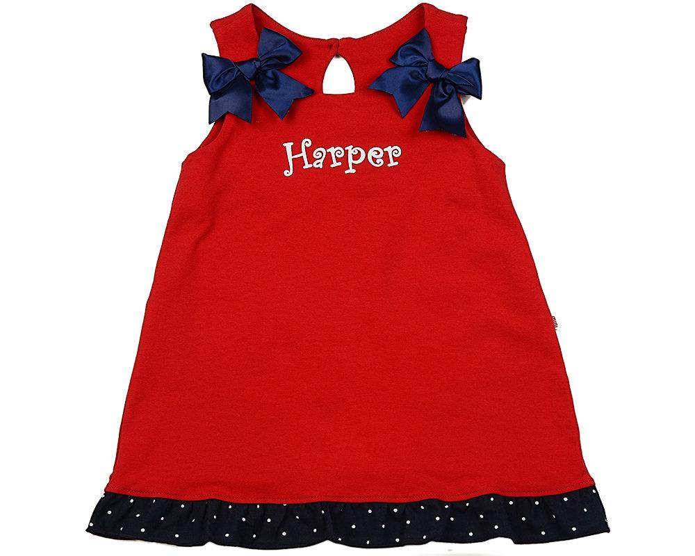 UD 1643(2)красный  Mini Maxi Платье с синими бантиками (98-116см) UD 1643(2)красный
