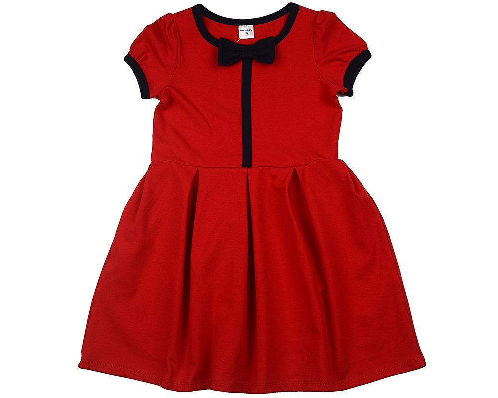 UD 1418(3)красный  Fifteen Платье с бантиком (122-146см) UD 1418(3)красный
