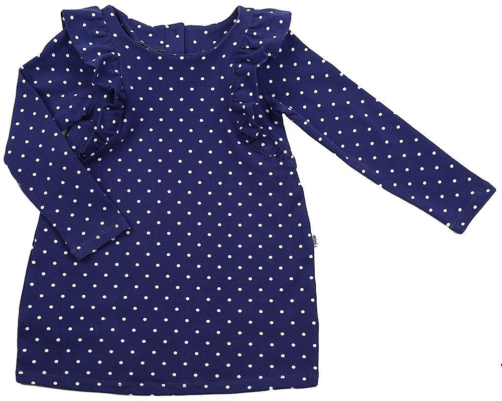 UD 1421(3)синий  Fifteen Платье в горошек (122-134см) UD 1421(3)синий