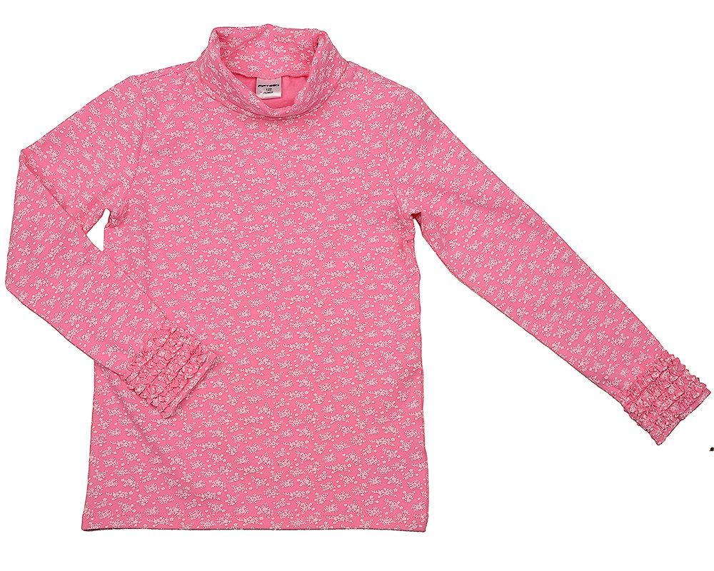 UD 1047(3)розовый  Fifteen Водолазка в цветочек (122-146см) UD 1047(3)розовый