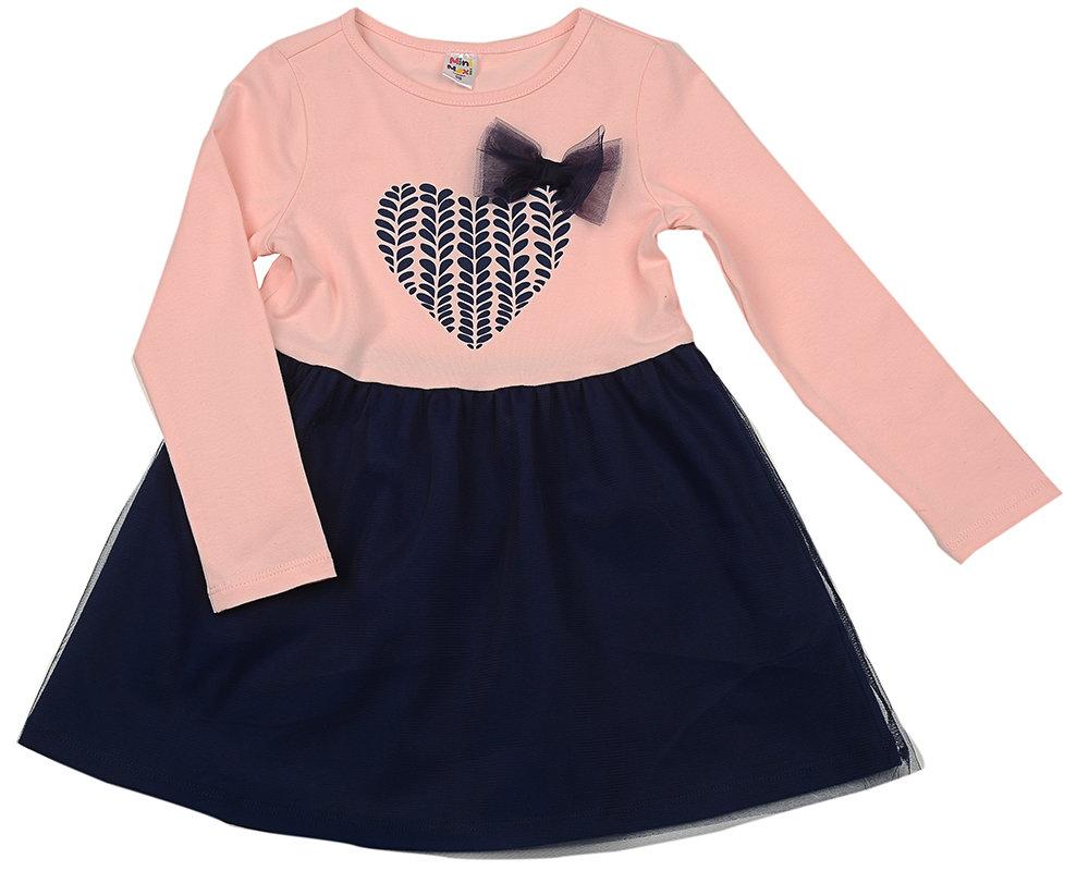Платье Сердце с бантом (98-122см) UD 3846(1)роз/син UD 3846(1)роз/син