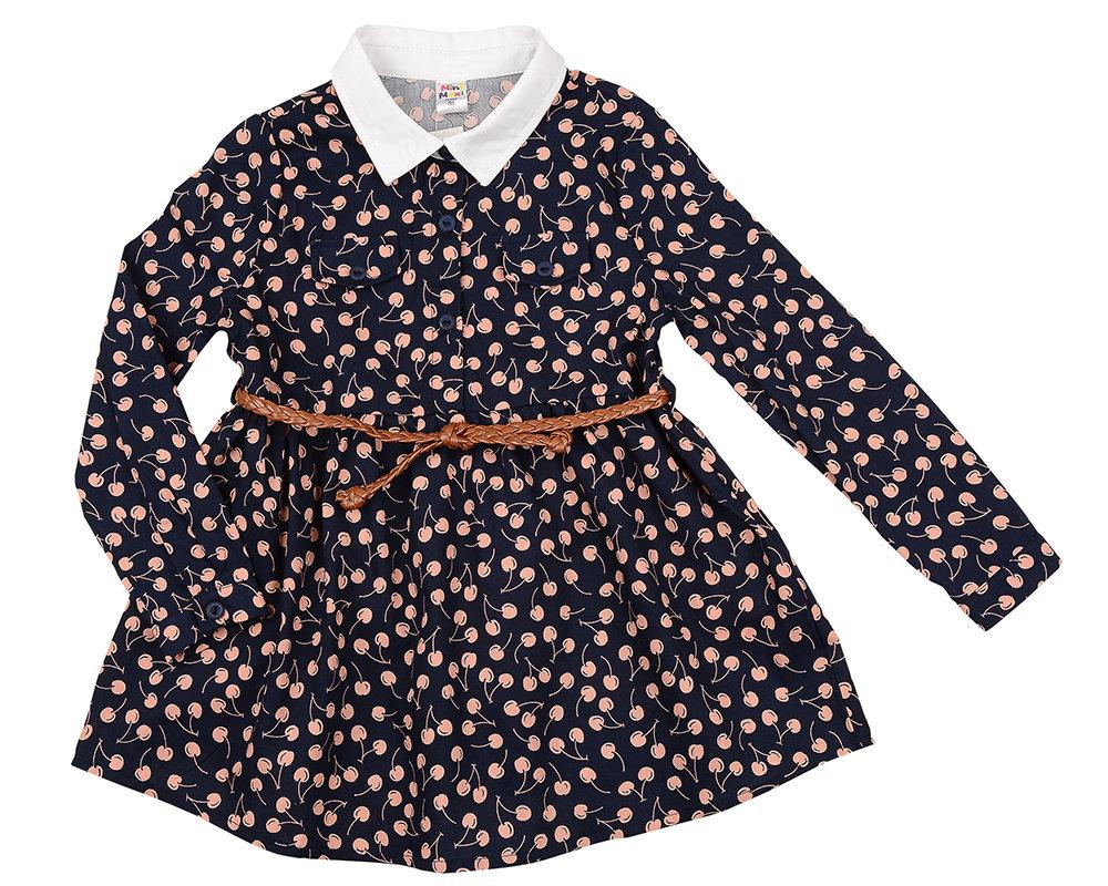 Платье с воротником (98-122см) UD 6049(1)син вишня UD 6049(1)син вишня
