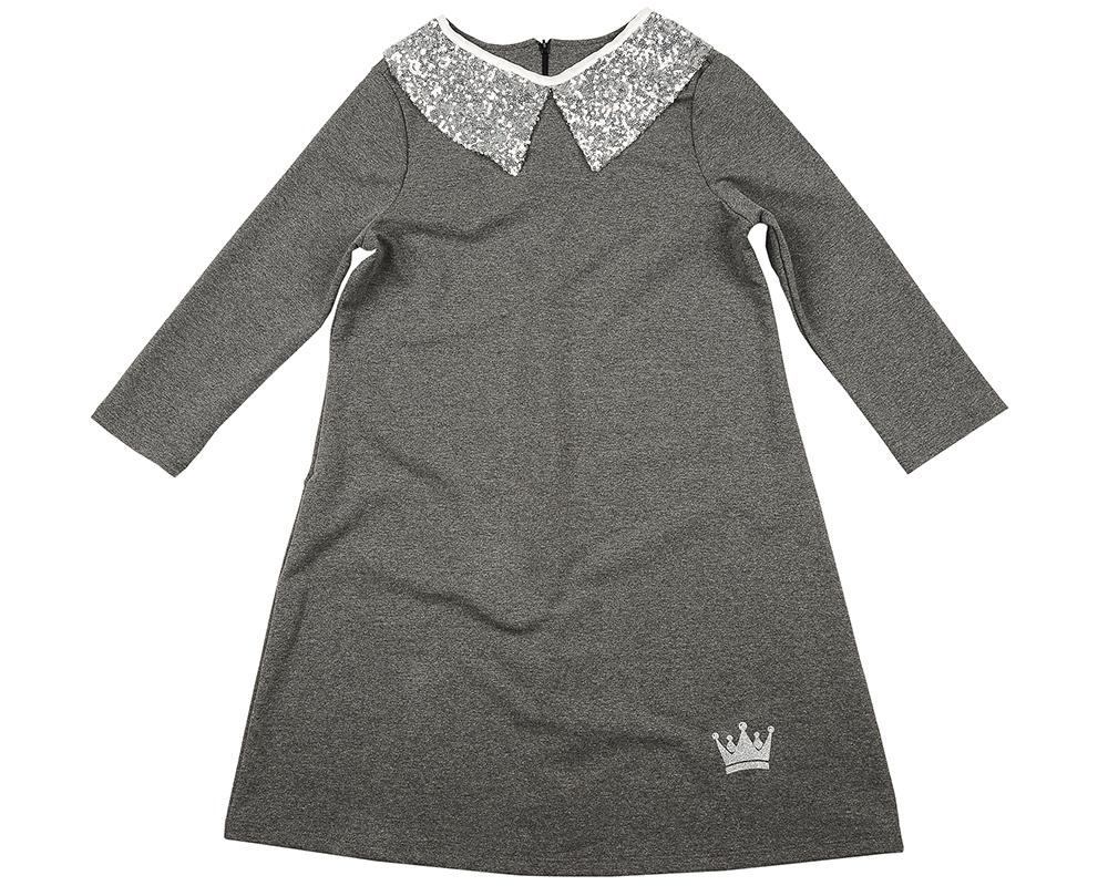 Платье с воротником (152-164см) UD 5105 графит