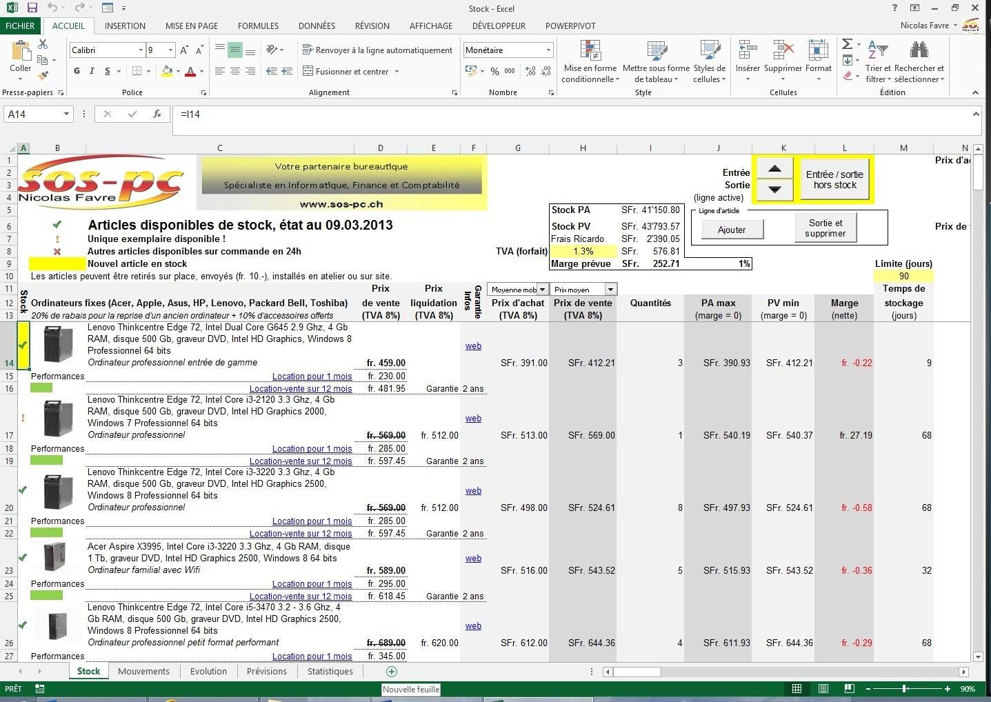 Gestion de stocks / listes d'articles (Excel)