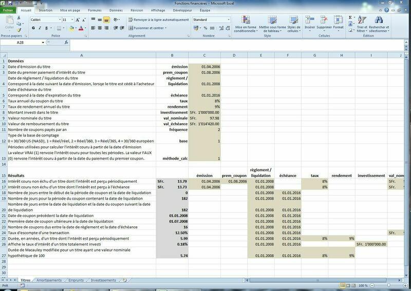 Fonctions financières (démo Excel)